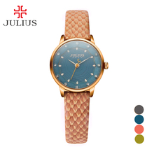 Julius Girl Wrist Watch Quartz Hours High Vogue Gown Bracelet Leather-based New Multicolor Easy Woman Lady Birthday Present 858