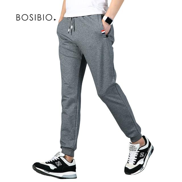 b8c0cc4655cb5a Men Sweatpants Joggers Elastic Waist Slim Fit Sweatpants 2017 Autumn Dark  Gray Men Cotton Sweat Pants New Arrival K828