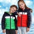 Ropa niños Chaqueta De Invierno Unisex Niños Para Niñas Patchwork Abajo Outwears Bebé Caliente Otoño Ropa Niños jassen meisjes