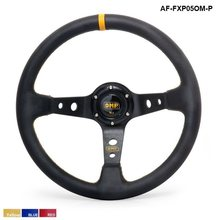 350MM PVC Deep Dish Drifting Sport Racing Steering Wheel Aluminum Frame ( yellow red blue ) AF-FXP05OM-P(China)