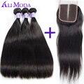 Али Moda Малайзии прямые волосы с закрытием Человеческих Волос Weave 3 расслоения с lace closure малайзийские виргинские волосы с Закрытием