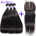 Ali Moda Malaysian straight hair with closure Human Hair Weave 3 bundles with lace closure malaysian virgin hair with Closure