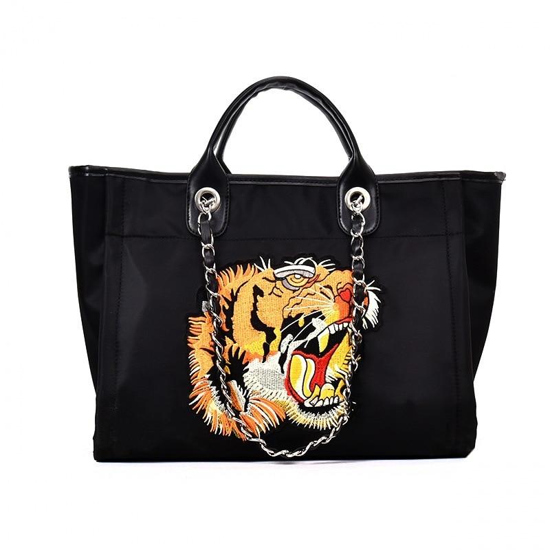 Caker Brand 2018 Women Large Big Shoulder Bags Fashion Embroidery Tiger Handbag Colorful Shoulder Bags