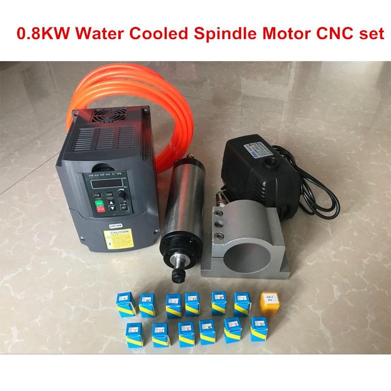800 W broche de refroidissement par eau 4 roulements 65mm 220 V + 1.5KW 220 V onduleur + 65mm pince + pompe à eau + tuyau d'eau + 13 pièces ER11 pince