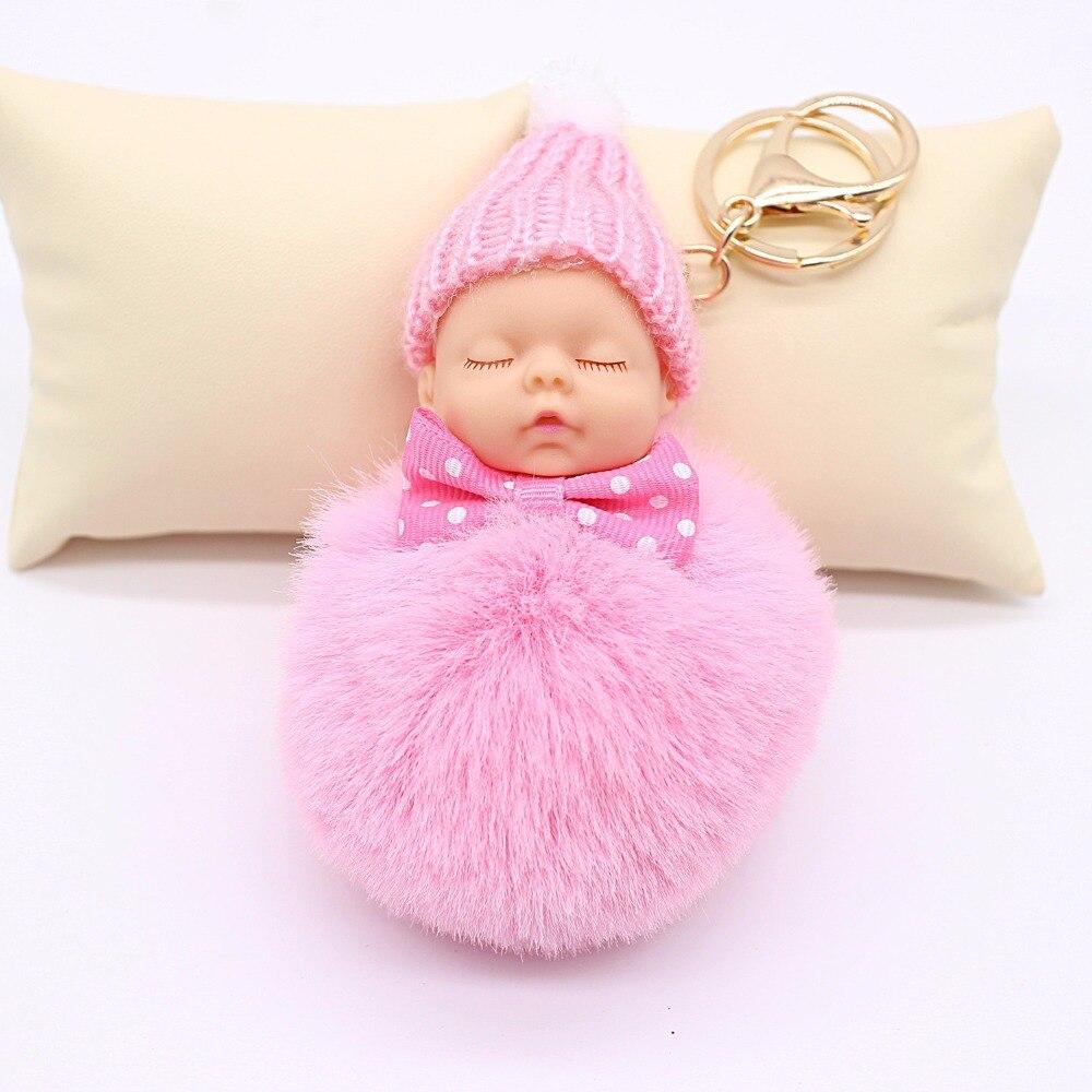 2018 мех кролика мяч брелок автомобиля брелок Спящая кукла брелок помпон Для женщин ключ держатель мешка шарма Аксессуары