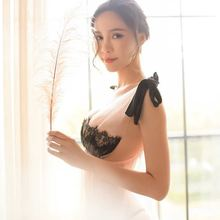 купить Yhotmeng2019 new sexy lace eyelashes bow straps nightdress female suspenders backless pajamas nightdress set дешево