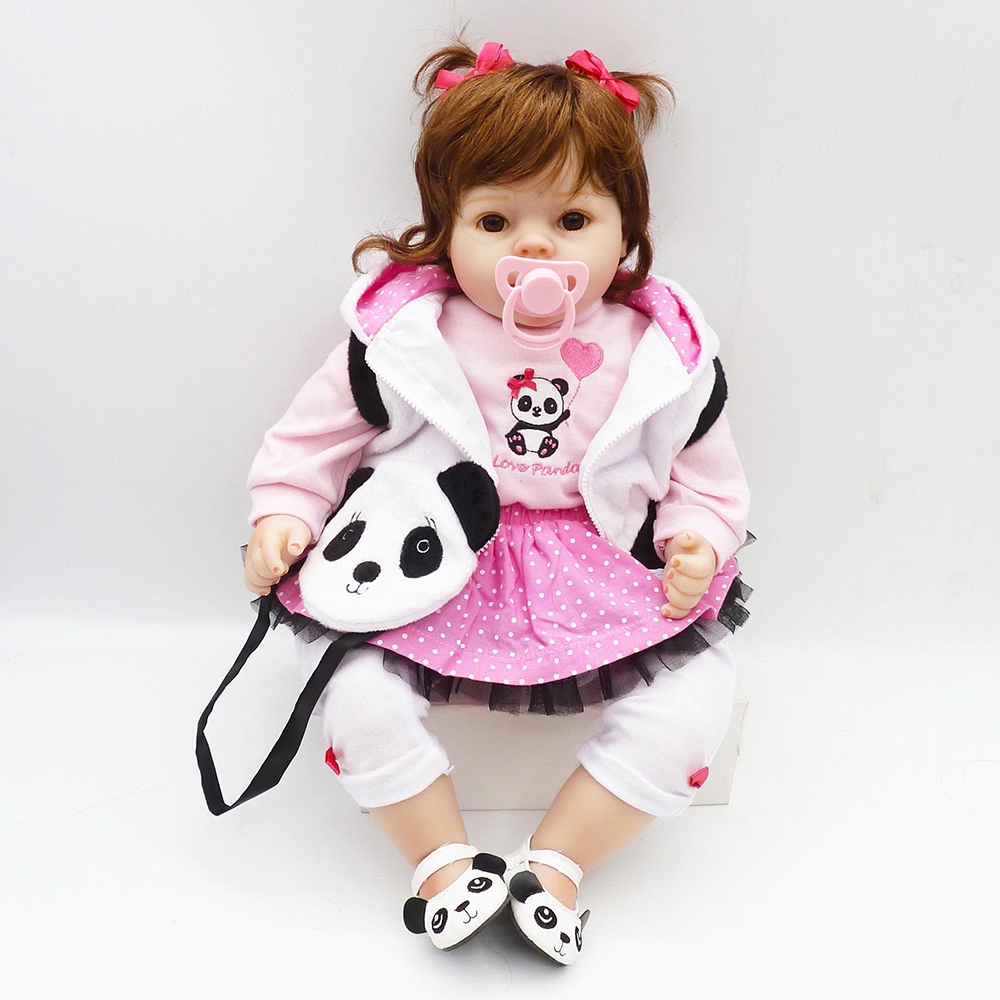 NPK 50cm Silicone Reborn Super Baby Lifelike Toddler Baby Panda Kid Doll Bebe Reborn Reborn Toys