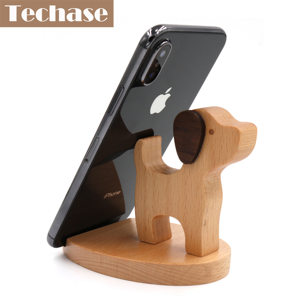 Techase Wood Phone Holder Cute Dog suporte para celular Cartoon Design Desk Phone Stand Telefon Tutucu For Huawei Mate 10 lite