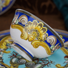 Luxury Blue Ocean Bone China Dishes Plates Western Clubhouse Upscale Heart Of The Sea Ceramic  Tableware Decorative Plate