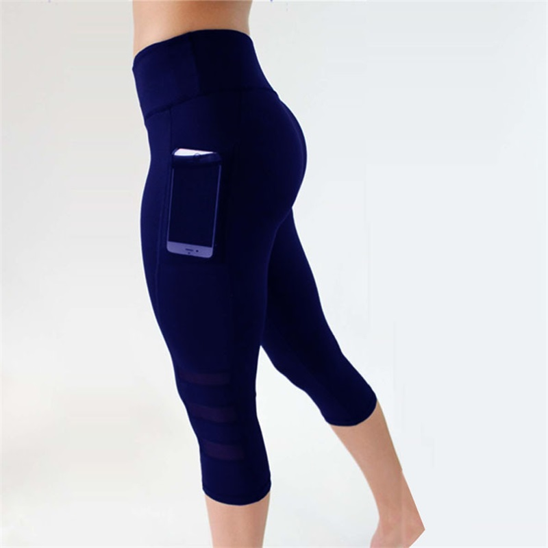 LAISIYI High Waisted Leggings Women Plus Size Solid Polyester Casual Fitness Pants Breathable Stretch Mesh Legging With Pockets