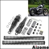 Black Shock Absorbers Slammer Suspension Drop Kits For Harley Dyna FXD Super Glide Custom Street Bob Fat Bob Low Rider 06 17