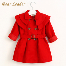 Bear Leader Children Clothing Outerwear&Coats Girls Trench Coats 2016 Fashion Girl Jackets Long Sleeve Collect Waist belt Coats