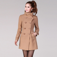 2017 Autumn Women S Double Breasted Coats Woolen Tweeds Silm Camel Blends Long Overcoats Female Black
