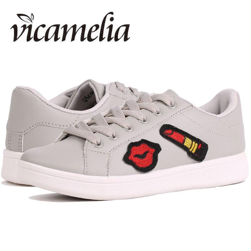 Vicamelia 2017 Fashion Women Casual Shoes Grey Appliques Women Flat Shoes Comfortable Women Sneakers Female Footwear 067