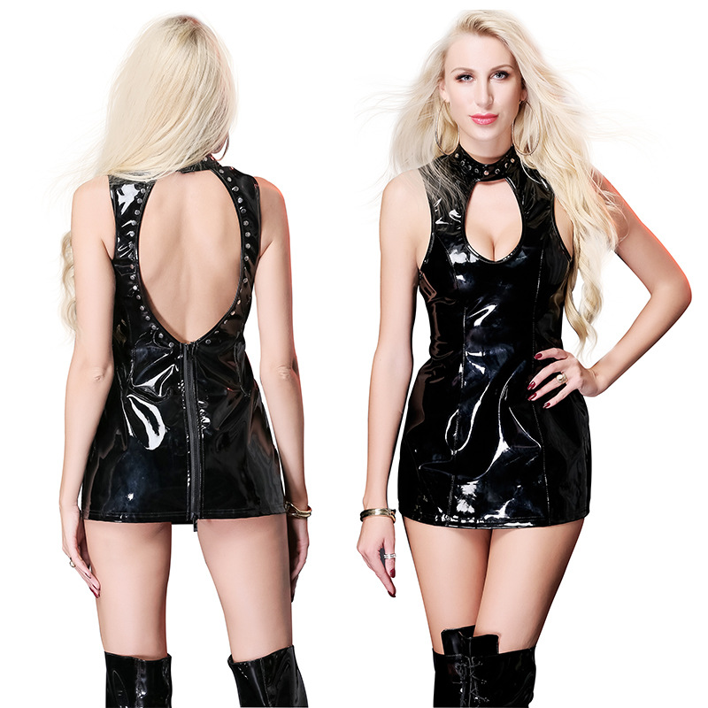 c1fb72fd468 Sexy Lingerie PVC look Black Faux Leather Gothic Fetish Hollow Night dress  Baby Dolls X6763