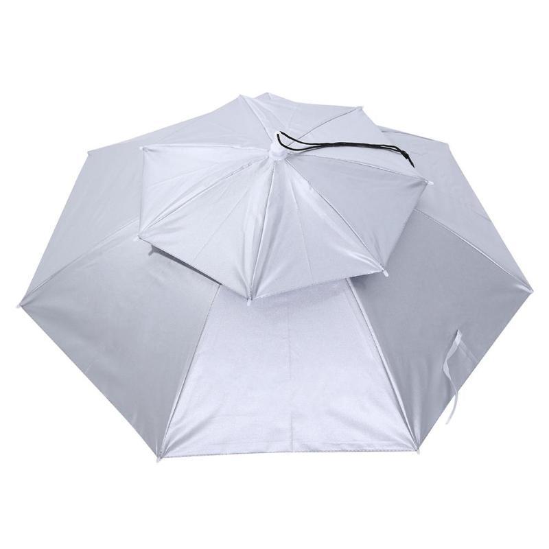 Портативный складной головной зонтик шляпа анти-дождь Открытый Кемпинг Пешие Прогулки рыбалка зонтик от солнца колпачок для зонтика - Цвет: Серебристый цвет