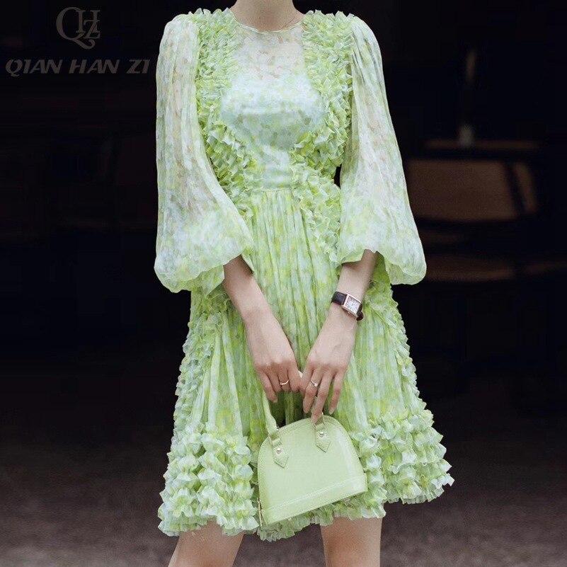 Qian Han Zi 2019 nowy projektant mody letnia sukienka kobiet latarnia rękawem potargane eleganckie Print czeski plisowana sukienka w Suknie od Odzież damska na  Grupa 3