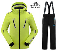Guarantee the authentic Pelliot male ski suits jacket+pants Men's water proof,breathable thermal cottom padded snowboard