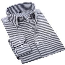 2017 High quality oxford striped men dress shirt long sleeve Button turn down collar Regular tailoring