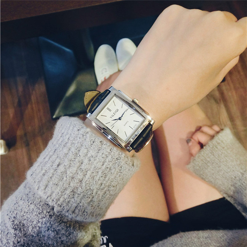Fashion Women's Watch Temperament Retro Square Leather Wild Leisure Literary Student Couple Watch Bracelet relogio feminino #50