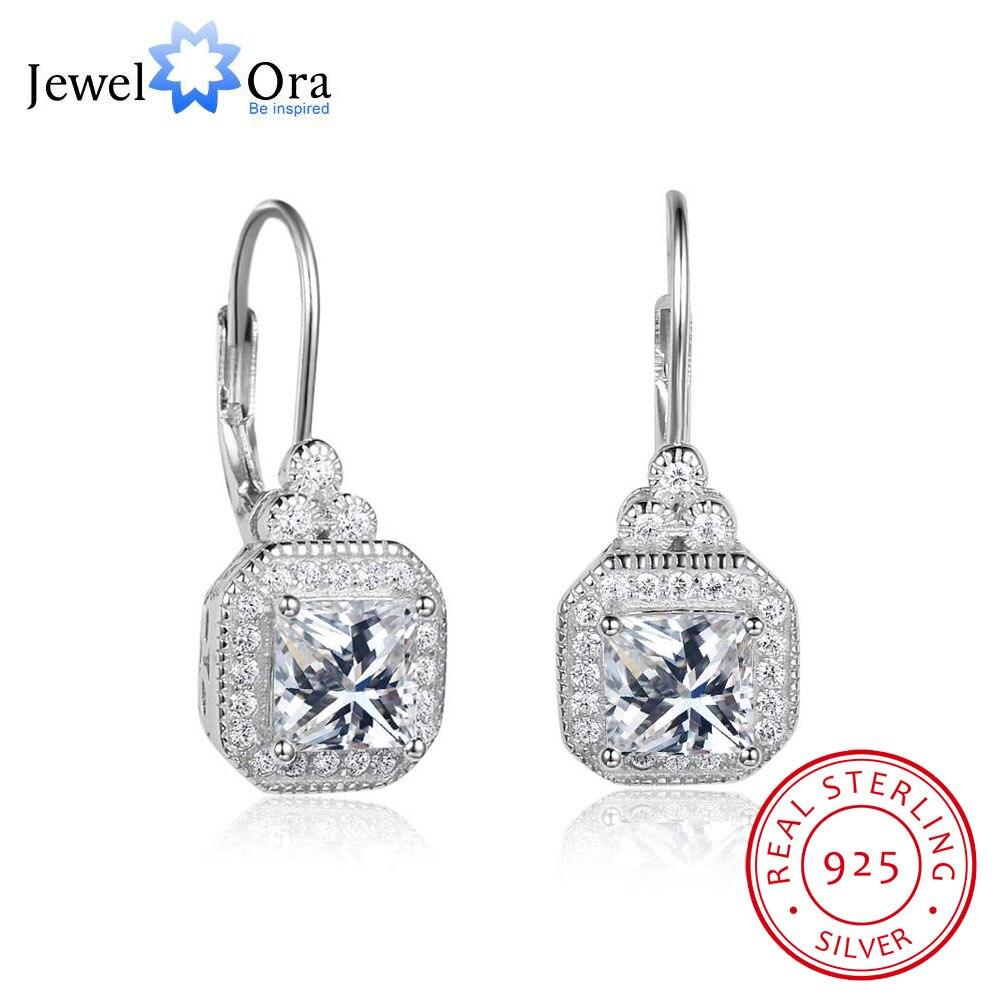 цена на Luxurious Cubic Zirconia Solid 925 Sterling Silver Hoop Earrings For Women Fashion Wedding Jewelry (Jewelora EA102021)