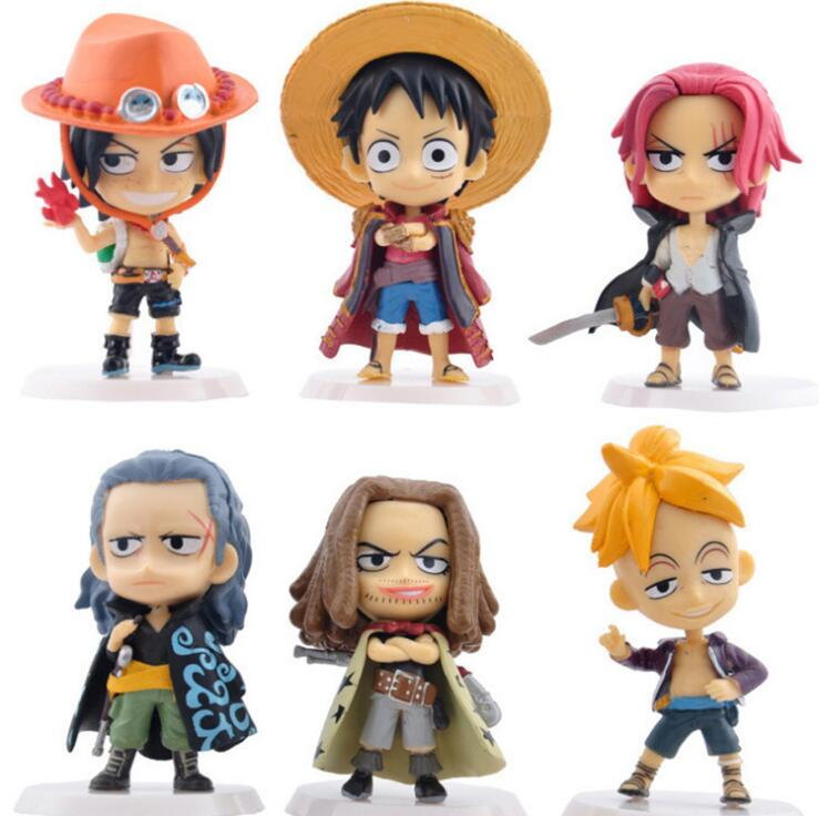 One Piece 6 Q version Red Hair Pirates Group Shanks Luff Action figure Combat version toys collection doll Christmas gift no box