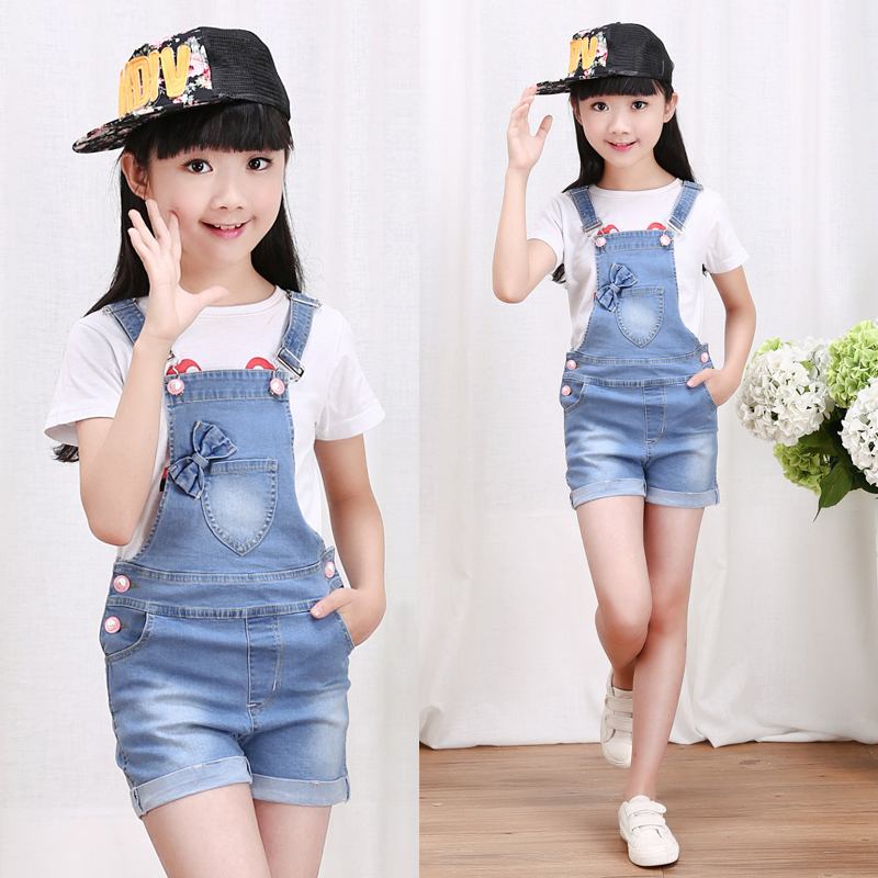 2019 summer children's clothes girls overalls causal blue denim strap girls jeans for big girls kids   shorts   jeans overalls