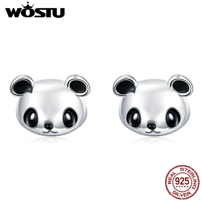 WOSTU Original Brand 100% 925 Sterling Silver Lovely Panda Stud Earrings For Women Fashion Jewelry Gift Dropship CQE386WOSTU Original Brand 100% 925 Sterling Silver Lovely Panda Stud Earrings For Women Fashion Jewelry Gift Dropship CQE386