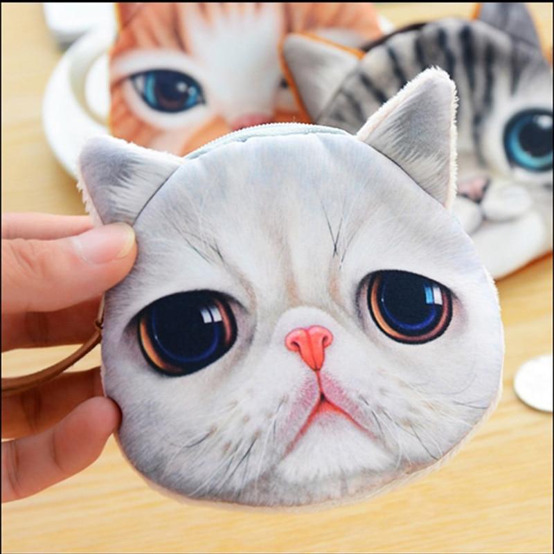 YOUYOU MOUSE Korean Creative Design Women Coin Purse Fashion Cat Face Card Holder Wallets Cotton Women's Money Bag Key Purses