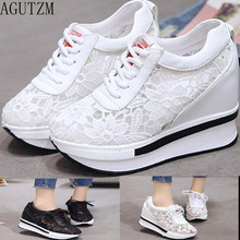 hot mesh breathable shoes woman platform heels casual women 2019 wedges for chaussures femme Z102