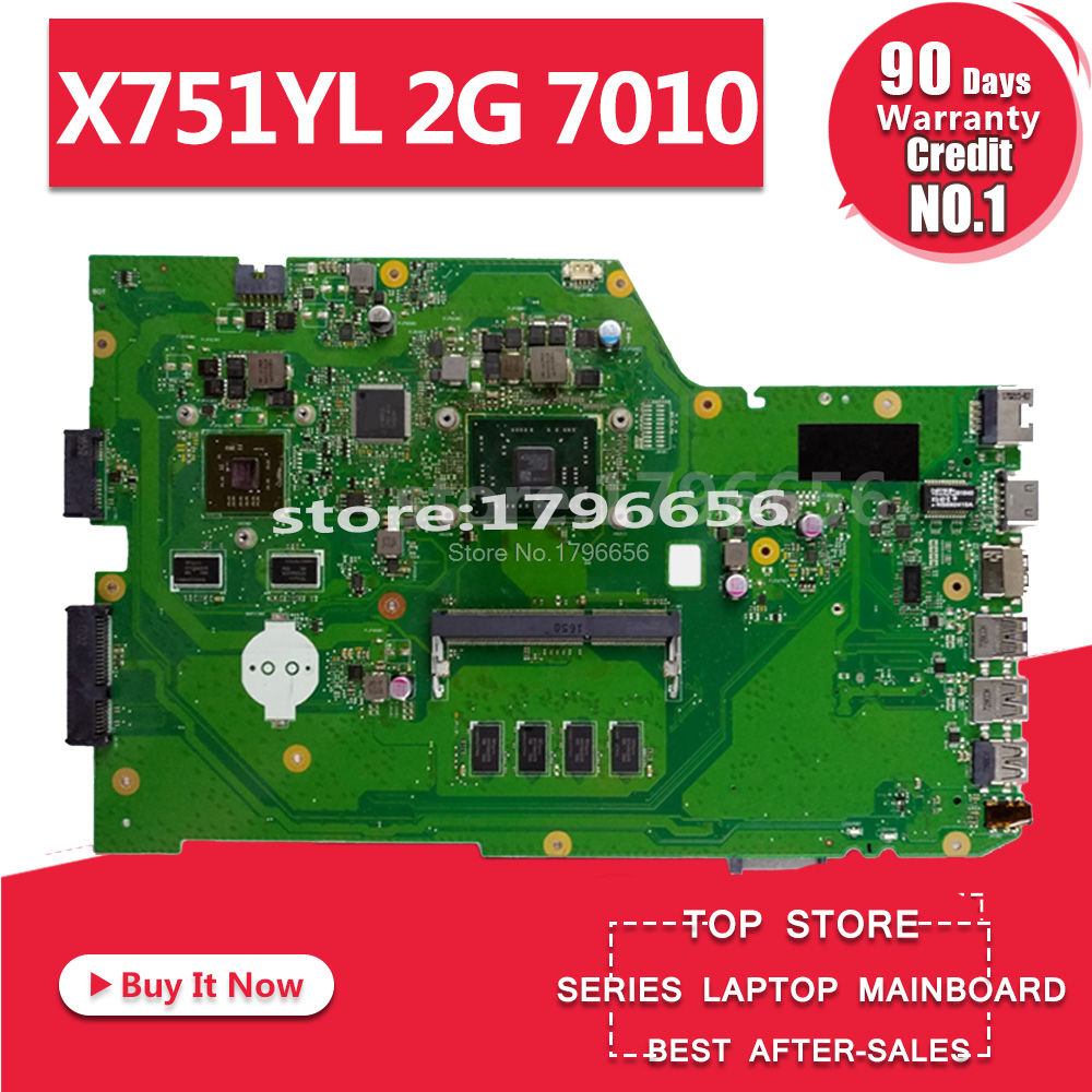 Main Board For ASUS X751Y X751YL 2G <font><b>7010</b></font> Laptop Motherboard System Board Mainboard Card Logic Board Tested Well Free Shipping image