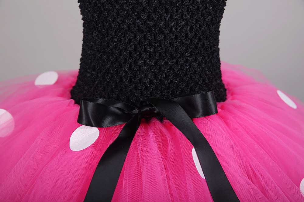 Black Top Rose Red Tulle Tutu Mini Mickey Dress with White Dots Knee Length Pettigirl Dress for Halloween Outfits Kids Clothes (7)