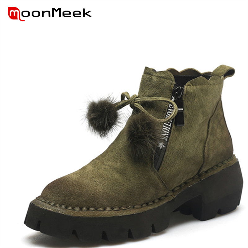 MoonMeek 2018 fashion autumn winter boots woman round toe platform boots ladies suede leather ankle boots moonmeek 2018 fashion autumn winter shoes woman pointed toe shoes woman wedges ladies boots women genuine leather ankle boots