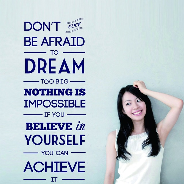 English Saying Dream Motivational Wall Art Sticker Decal Diy Home Decoration Decor Mural Removable
