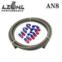 Lzone--8 steelness/сталь плетеный 5 м AN8 нержавеющей гонки шланг Мазут линия + 8AN место 8-шланг Конец адаптер КИТ JR7113 +