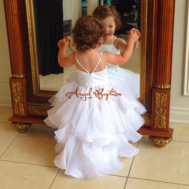 9608c1c99c6 White  ivory Flower Girl Dresses for Wedding Lace communion dresses for girls  1 year old pageant dresses kids evening gowns