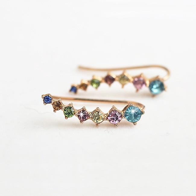 USTAR Πολύχρωμα Ζιργκόν κρύσταλλα Stud - Κοσμήματα μόδας - Φωτογραφία 2