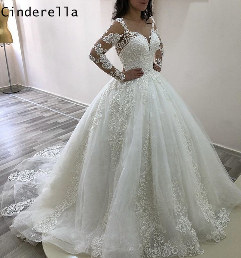 Cinderella V-Neck Long Sleeves Lace Up Back Court Train Lace Applique Princess Ball Gown Wedding Dresses Lace Bride Gowns