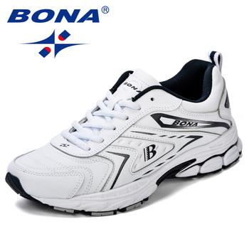 BONA mężczyźni obuwie marki mężczyźni buty mężczyźni trampki mieszkania wygodne oddychające mikrofibra wypoczynek na świeżym powietrzu obuwie modny styl tanie i dobre opinie Przypadkowi buty RUBBER Lace-up Pasuje prawda na wymiar weź swój normalny rozmiar Podstawowe Wiosna jesień 35081 Drukuj