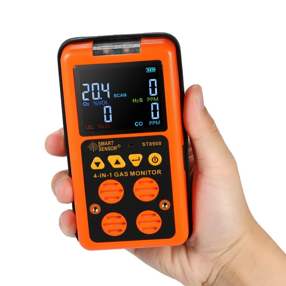 4 dans 1 Détecteur de Gaz CO Moniteur De Monoxyde de carbone Détecteur de Gaz de Sulfure D'hydrogène Testeur LCD Affichage Son + Lumière Vibrations alarme NOUS
