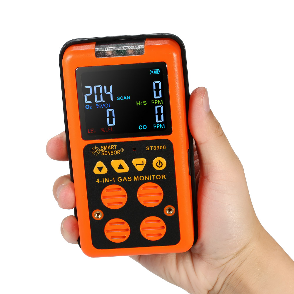 4 in 1 Rilevatore di Gas CO Monitor Rilevatore di Monossido Di Carbonio sensore di Gas Idrogeno Solforato Tester Display LCD Suono + Luce di Vibrazione allarme DEGLI STATI UNITI