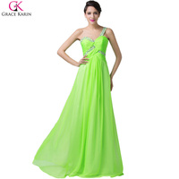 Free Shipping Grace Karin Fashion One Shoulder Beaded Long Evening Dress 2015 New Arrival Formal Dresses