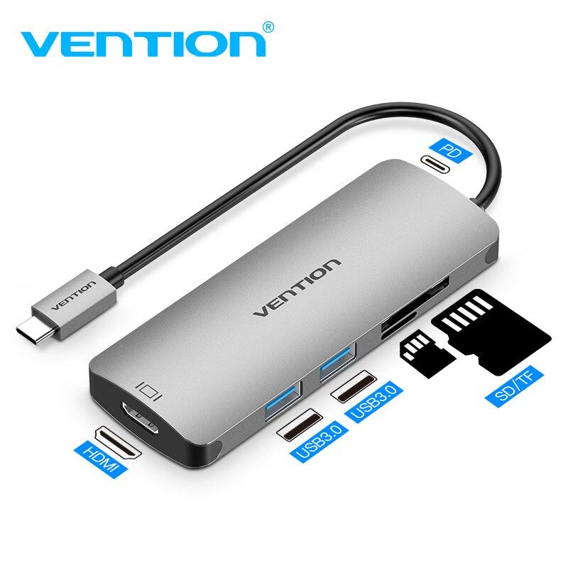 Venção USB HUB C USB-C para Adaptador HDMI Tipo C-VGA USB 3.0 PD para MacBook Samsung Galaxy S9 /Note 9 Huawei P20 Pro Tipo C HUB USB