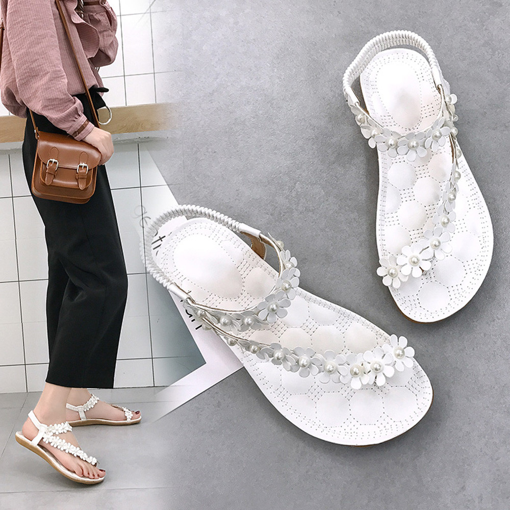 Sandals Shoes Beads Bohemia Flower Open-Toe Soft-Bottom Woman Zapatos