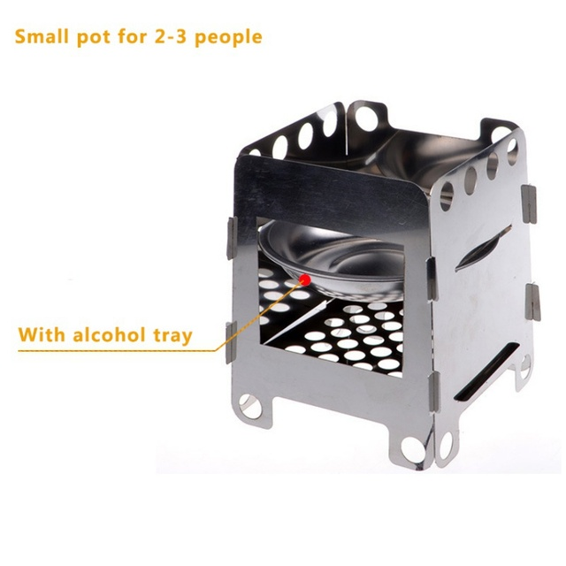 Mini Folding Wood Stove Outdoor Camping Stove with Alcohol Tray Ultralight Stainless Steel Pocket for Picnic Hiking