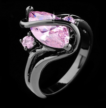 Vintage Fashion Luxury Black Gold Pink Sapphire Zircon CZ Diamond Oval Crossed Rings For Women Wedding Jewelry anillos Of R113