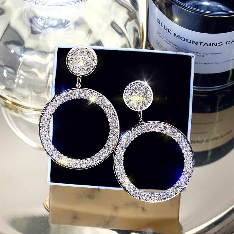 Fashion Shining Circle  Earrings Precision Inlay Gold Silver Color Rhinestone Earrings for Women Wedding Party Jewelry