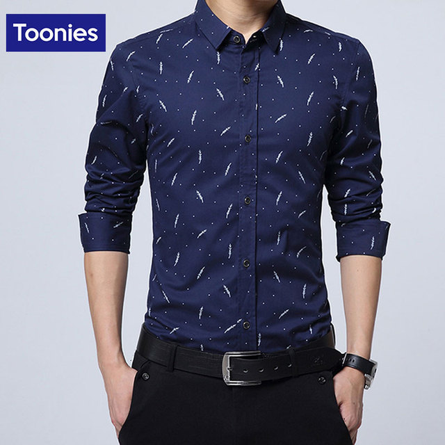 Men's Dress Shirts Printing Men Long Sleeved Cotton Solid Casual Shirt With 5 Color Oversize Business Formal Camisa Masculina