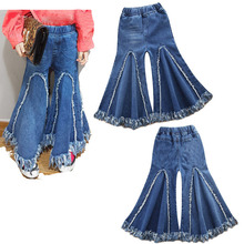 1-6Y Toddler Kids Baby Girl High Waist Flare Pant Trouser Bell-bottom Solid Blue Children Clothes