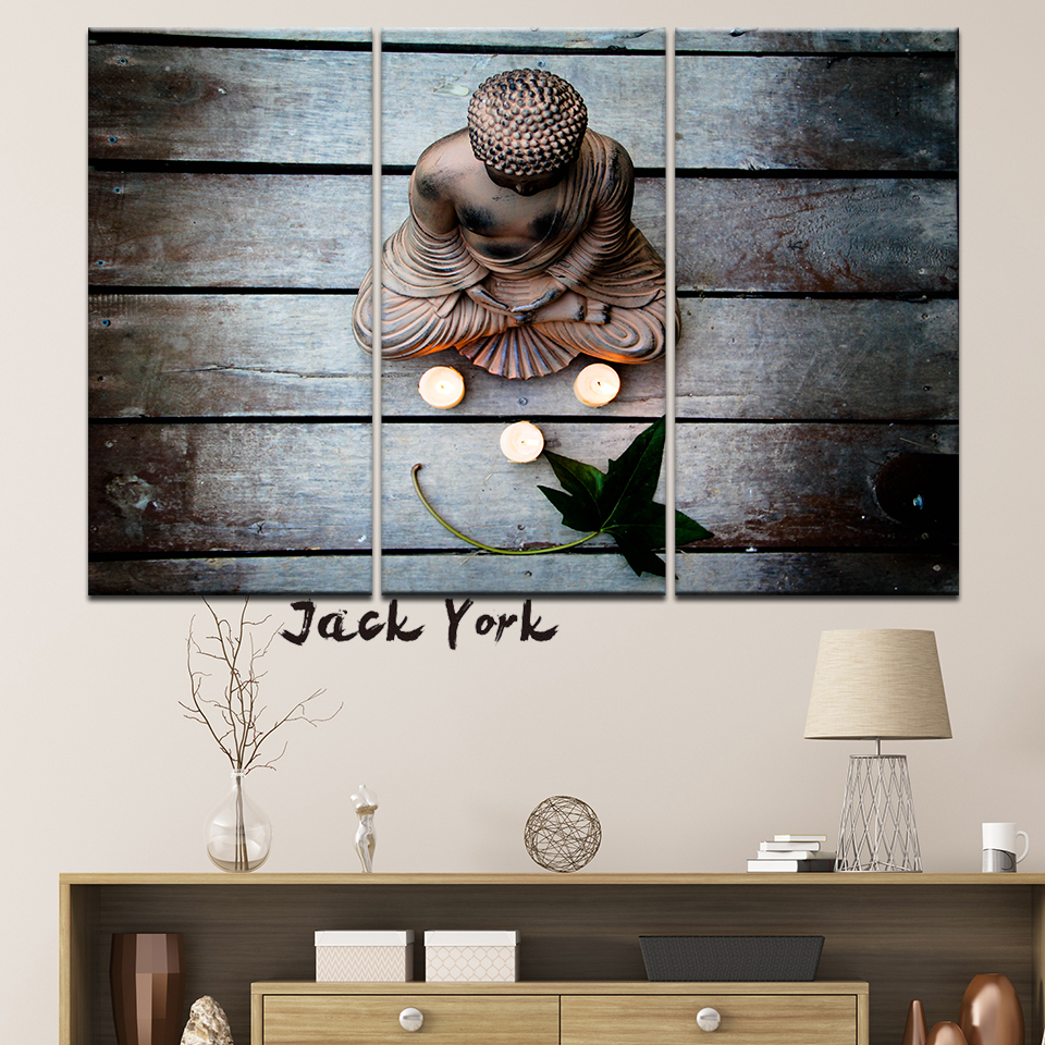 Canvas painting buddha on wood and leaves 3 pieces wall art painting modular wallpapers poster print for living room home decor
